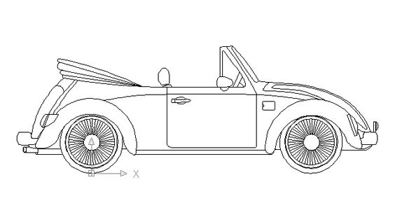 Volkswagen Beetle cabriolet in Vehicles / Cars - Ceco.NET free autocad drawings