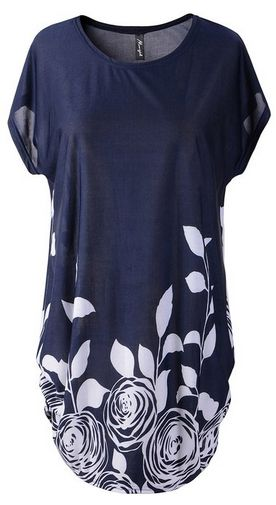 modest top! Cape Sleeve Shift Dress Loose Floral Cotton Blends Tops - A Thrifty Mom