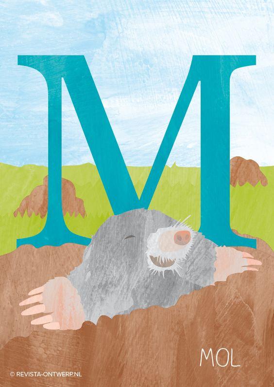 De M is van mol. Hij leeft onder de grond en kan lange gangen graven met zijn handen! www.revista-ontwerp.nl
