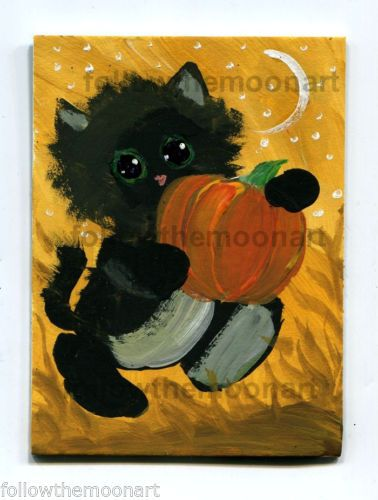 Little Black Kitty Aceo original painting