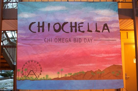 ChiOChella Chi Omega Bid Day banner ~~~ painted Coachella sunset and ferris wheel background on a full flat sheet