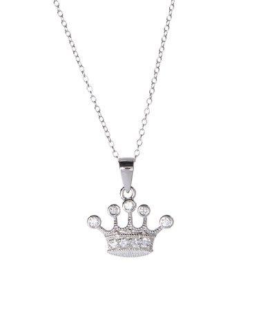 Look at this #zulilyfind! Sterling Silver & Cubic Zirconia Crown Pendant Necklace #zulilyfinds