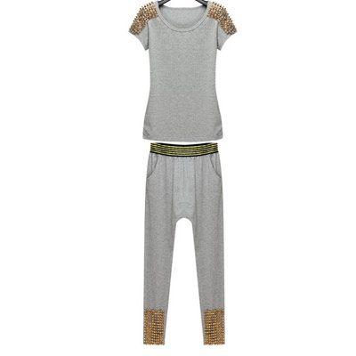 39,90EUR T-Shirt und Hose mit Nieten tiefem Schritt grau  pinjafashion.de