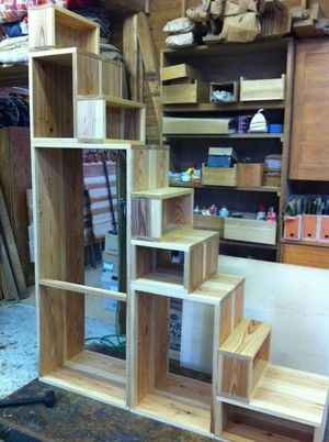Cube of stairs chest of drawers - made of solid wood order kitchen furniture [KitoBito | Kitobito]
