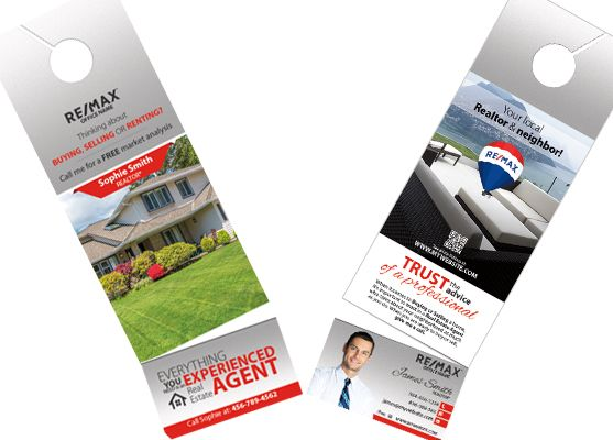 Remax Door Hangers Business Card Slits Remax Hangers Tear Off Cards Door Hangers Door Hanger Printing Door Hanger Template
