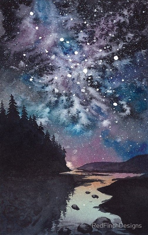 Night Watercolor Landscape Pine Forest River And Stars Poster By Redfinchdesigns Watercolor Night Sky Watercolor Canvas Night Landscape