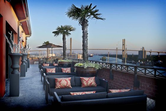 Savannah, GA- Bohemian Hotel Riverfront. Roof top bar, fire pit, over river