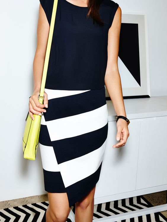 Featuring The Mesh Trim Tee Bold Stripe Wrap Skirt
