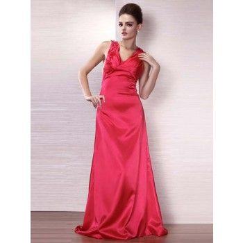 Sexy Abendkleider rot A-Linie Satin lang mit Schleppe