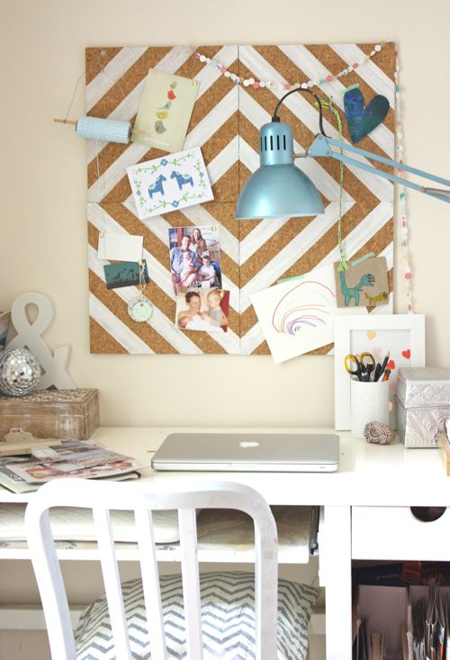 Love this painted corkboard!