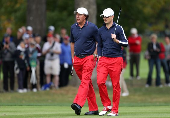 Phil Mickelson and Zach Johnson were rocking the red pants during practice on Wednesday.