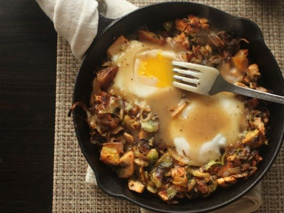 Brussels Sprouts, Potatoes, and Turkey Hash