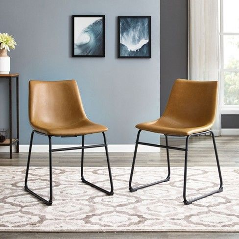 Set Of 2 Faux Leather Dining Kitchen Chairs Saracina Home Faux