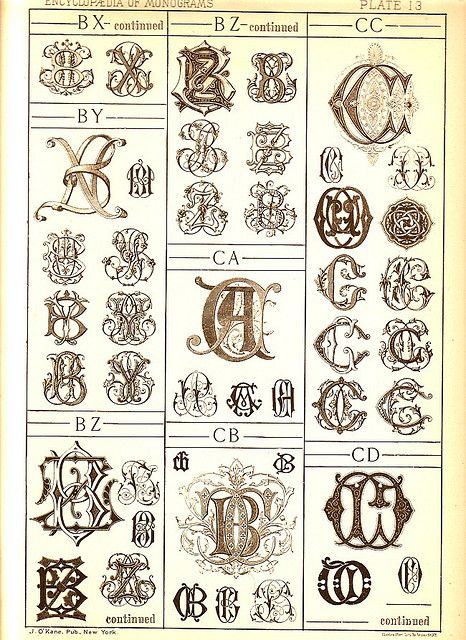 antique page of monograms - 13
