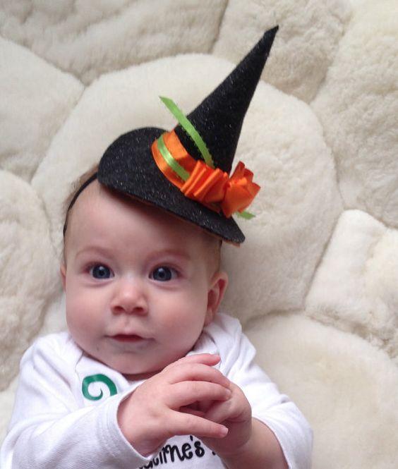 Witch Hat Headband, Baby Halloween, Handmade