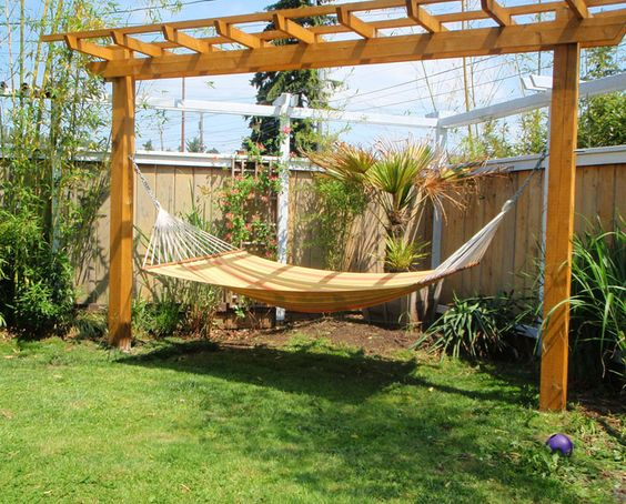 "Pergola and hammock stand, I want this not just because I LoVe hammocks but I would love to say, ""lets go out to the Pergola""!!!!!"