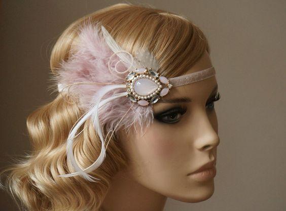 Vintage+Haarband+20er+Brosche+zart+rosa+von+Elizabethmode+auf+DaWanda.com