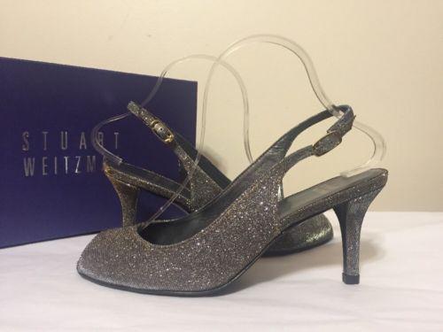 Stuart Weitzman Slinky Platinum Noir Women's Sling Back High Heels Sandals  ...