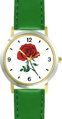 Red Rose - Flower - WATCHBUDDY® DELUXE TWO-TONE THEME WATCH - Arabic Numbers - Green Leather Strap-Children's Size-Small ( Boy's Size & Girl's Size ) WatchBuddy. $49.95. Save 38% Off!