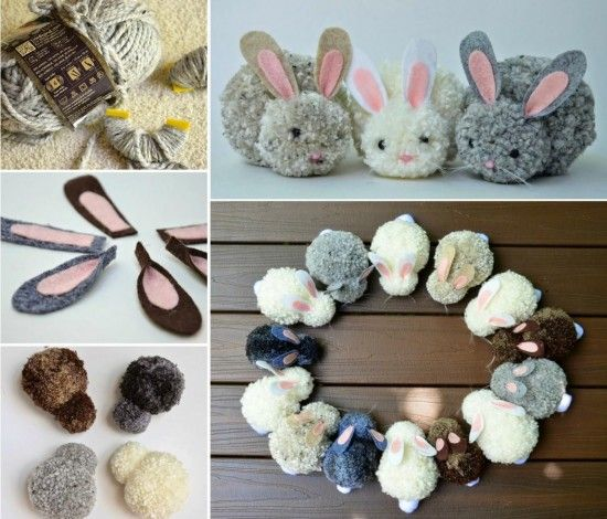 """<input class=""""jpibfi"""" type=""""hidden"""" >This is an easy and quick Easter craft of making pom pom bunny . We featured finger pom pom tutorial before, that's simple and fun .With the pom poms, we can make rug, blanket and these super cute Easter bunnies . Make Pom Poms Tutorialvia 'Adventures Of A DIY Mom' Pom Pom Easter Bunny Craft…"""