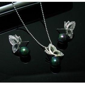 Tiffany Sets Tiffany Green Pearl Butterfly Set...