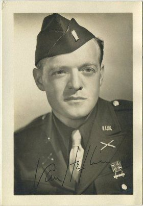 U.S. Army Air Force Lt. Van Heflin a combat photographer with the First Motion Picture Unit under Capt. Ronald Reagan, served in the Ninth Army Air Force in Europe. In the photo Heflin is dressed in his Class A uniform.