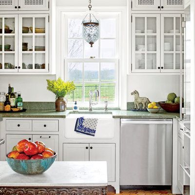 Our Best Cottage Kitchens need a light over my sink-and a glass insert in cabinet by fridge dcb