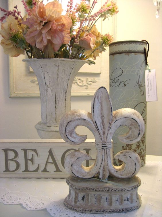Shabby Chic French inspired Fleur De Lis Beach Decor