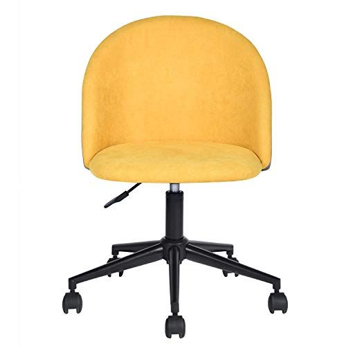 Homy Casa Dudley Yellow Secretary Office Fabric Metal Adjustable