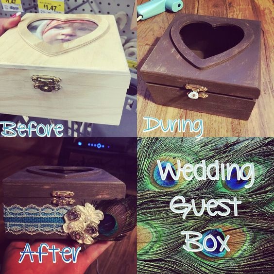 wedding Guest Box! DIY at Walmart for only $19!!!  Box: 5 Chalk paint: 6 Lace ribbon: 4 Decor bling: 2 Decor flowers:2 Most boxs go for $45-$80, but why pay that when you can make your box for way less & exactly how you want it!!!