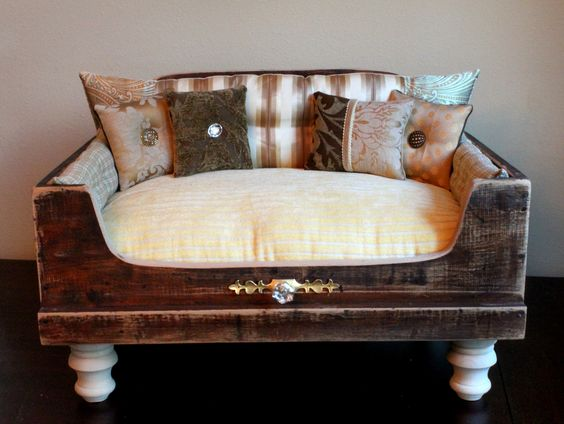 dog bed, cat bed, pet bed, dog, cat, pet, bed, luxury, shabby chic, lounger, free shipping, LUXURIOUS ANTIQUE pet bed. $1,200.00, via Etsy.