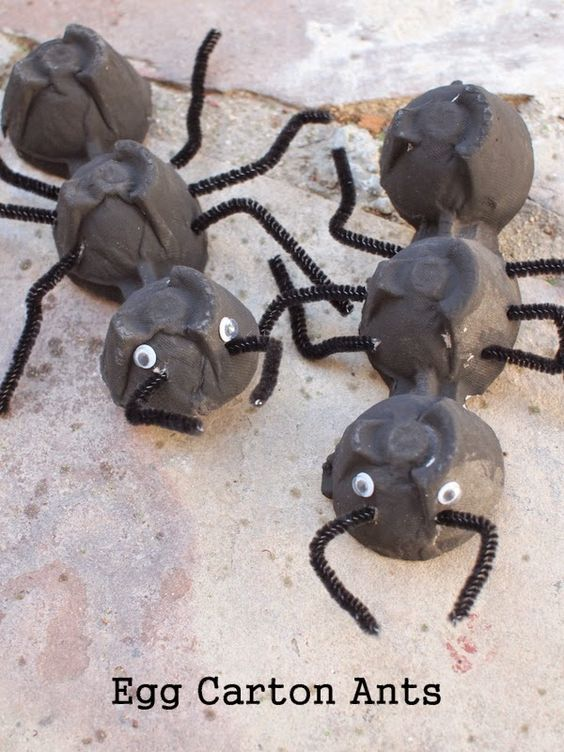 egg carton ant craft More