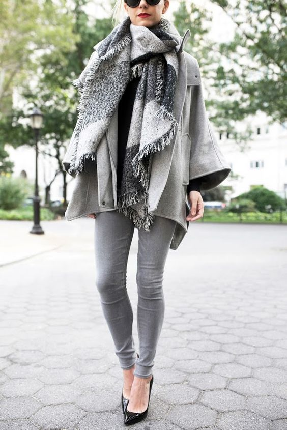 Gray tones jeans, cape, scarf // Atlantic-Pacific: