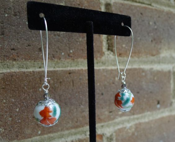 Vintage Japanese Koi Fish Bead Earrings by GlitterFoundJewelry