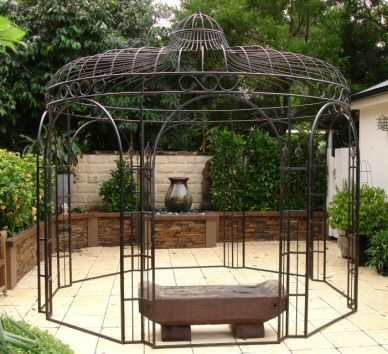 Pergola en fer forg jardins romantiques pinterest tuin fers et belv d re - Pergola ronde fer forge ...