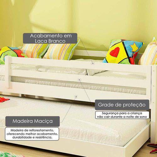 Bicama Infantil Prime Com Grade De Protecao Madeira Macica