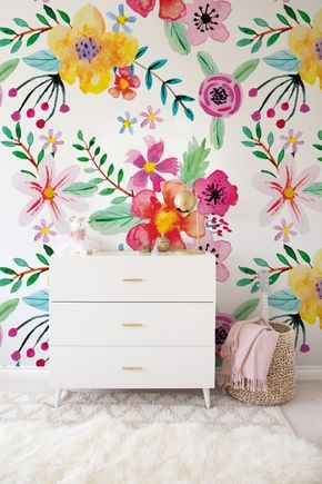 Peel Stick Florist S Dream Wallpaper Colorful Trendy Wall Mural 2019 Trending Wall Decoration Wallpaper Wallmu Girl Room Floral Wallpaper Nursery Wallpaper