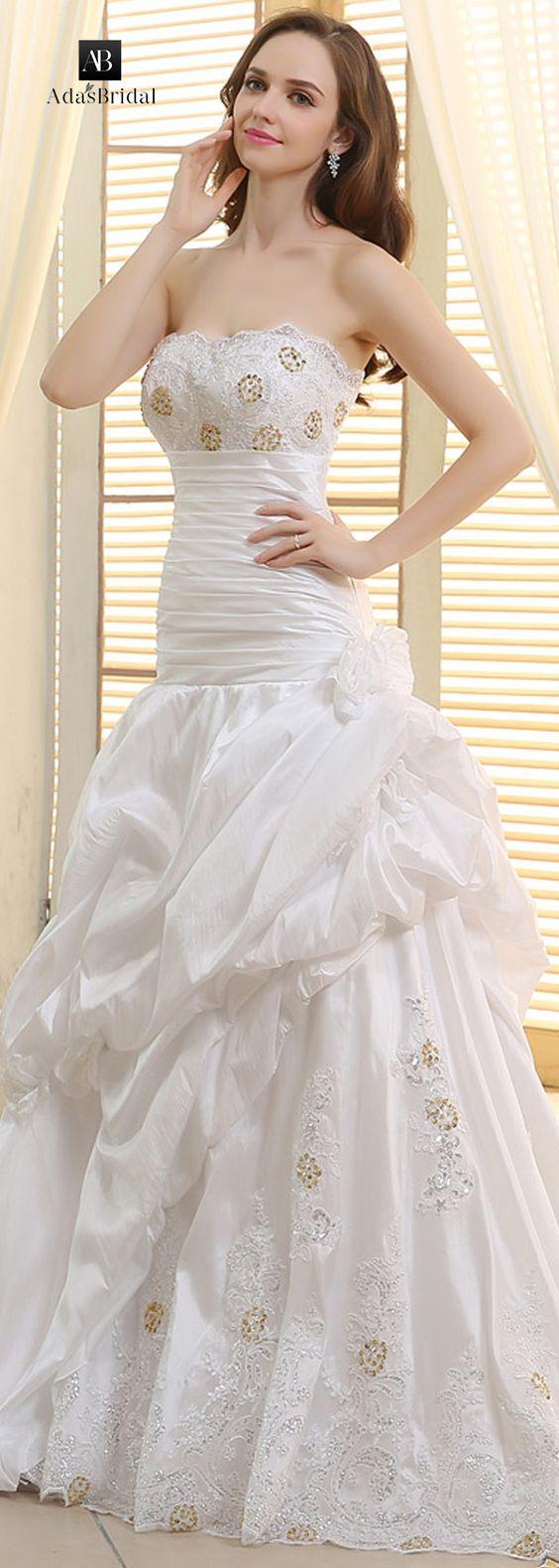 Gorgeous taffeta strapless neckline ball gown wedding dresses (WWD57424)