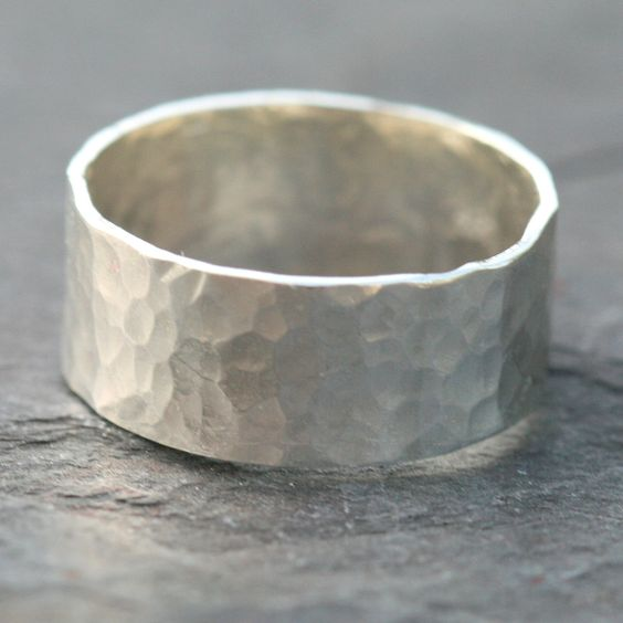 Wide Sterling Silver Ring Band Hammered US Size 5 by Maggie McMane Designs. $42.00, via Etsy.