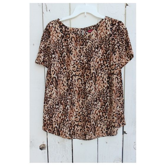 Leopard Top Size XXL. Worn for a flowy look and tucked into skirts. Like new! 100% polyester. Merona Tops Blouses