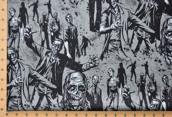 Zombie charcoal halloween days of the dead alexander henry for Monster themed fabric