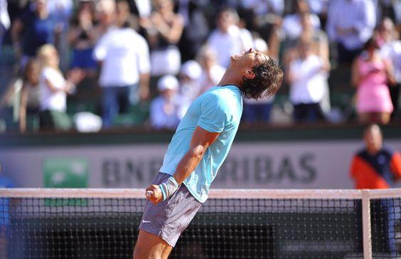 Roland Garros . 6/06/2014. Rafael Nadal peut laisser exploser sa joie. Il a livr� une v�ritable d�monstration face � Andy Murray.