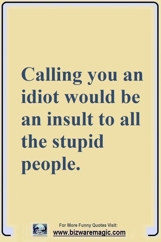 Calling You An Idiot Would Be An Insult To All The Stupid People Click The Pin For More Funny Q Annoying People Quotes Stupid People Quotes Crazy Person Quote