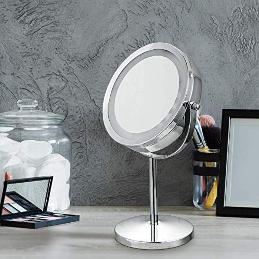Giantex Led Lighted Makeup Mirror 5x Magnifying 7 Double Sided For Travel Table Comp Lighted Magnifying Makeup Mirror Makeup Mirror With Lights Makeup Mirror