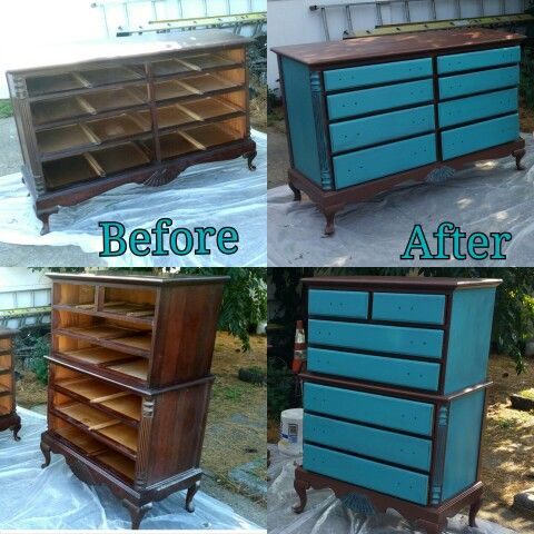 Refurbishing an antique. Chocolate & Teal!