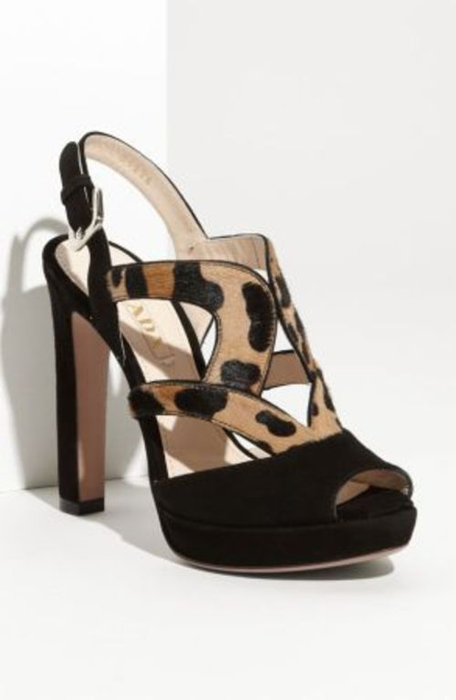 "FOR SALE: Prada Suede & Leopard Print Calf Hair Sandals  (Absolutely stunning!!!)    CONDITION: Brand New (with tags) (without original box)    (Original Price: $890.00 - Completely sold out at Nordstrom and other department stores!)    SIZE: 37EU / 6.5US    Adjustable strap with buckle closure.  Approx. heel height: 4 1/2"".  Suede and calf hair upper/leather lining and sole.  Imported.  Salon Shoes    Made in Italy"