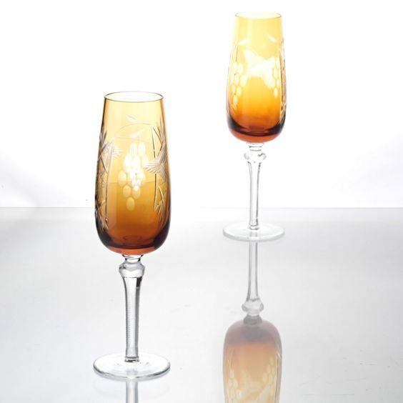 2 Vintage Kristall Sektgläser Sektkelche Traube Schliff orange bernstein W6C