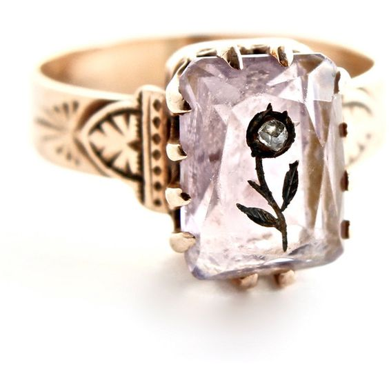 Antique 10k Rose Gold Victorian Ring Etched Flower Pastel Amethyst... ($18) ❤ liked on Polyvore