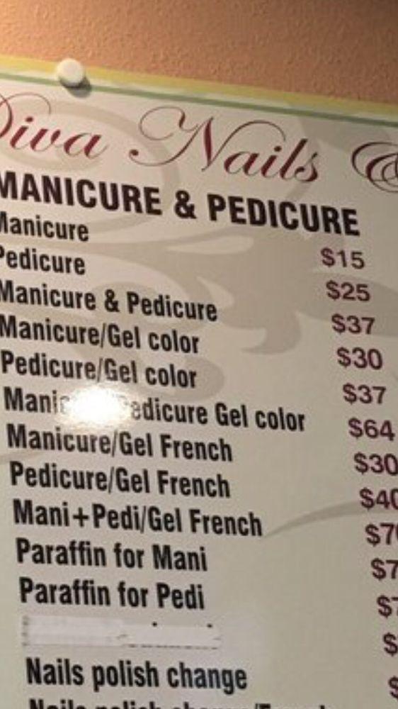 Price List Showing 64 For Gel Mani Pedi Not 72 Yelp Gel Mani Diva Nails Mani Pedi