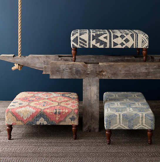 Pali Turned Tobacco Leg Rug Ottoman Furniture Ottoman
